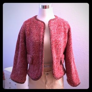 Zara tweed knit jacket S pink